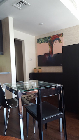 small dining, entrance, small living, entrance, mirror, enlarge space, wooden flooring, living small homes, studio before, small place design, layout, kitchen remodelling, black kitchen with yellow splash back, design by erika pace, dubai, burj nujoom studio