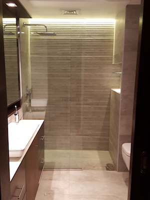 bathroom remodeling, modern, grey, Vitra, dubai design, walk in shower, executive towers, business bay, consultation by erika pace, sliding door