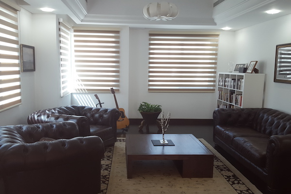 leather furniture, cformal living room design, decor, consultation by erika pace, dubai, wooden flooring, lighting, custom made blinds
