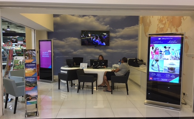 travel shop design, decor, dubai, interiors, fitout , turn key, perswall clouds, map wallpaper