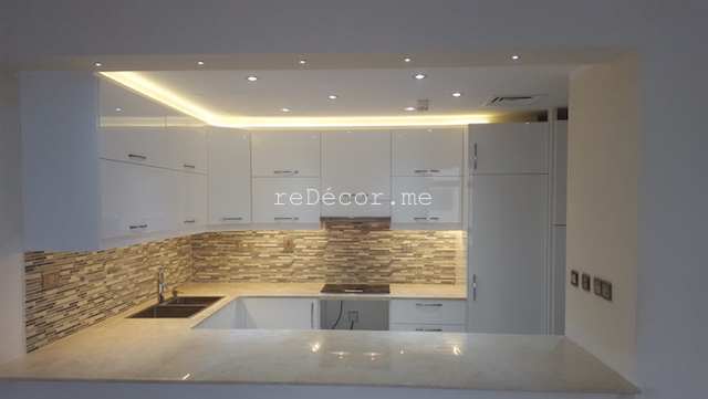 kitchen remodelling in Old greens, dubai decor cosnultation, design, white kitchen, ikea, modern, granite beige