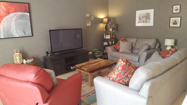 budget , home quick makeover, arabian ranches, dubai, designer consultation, grey and red, cozy, irish family, artwork, eclectic style, upholstery sofa, wallpaper