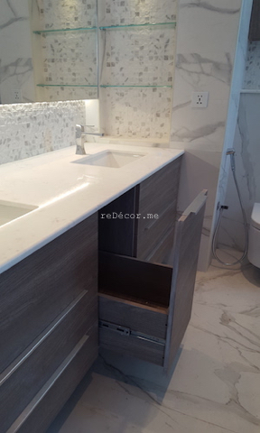 bathroom fit out dubai, remodelling business bay, executive tower, walk in shower, built in bathroom shelves, storage, marble, under counter basins, special lighting, interior design dubai, consultation, bagno bathrooms, mirror storage, light, storage above wc, laundry basket build in storage