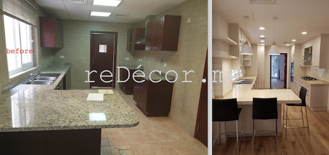dubai fitout, renovations, green community, dubai interiors, white beige kitchen , vinyl flooring