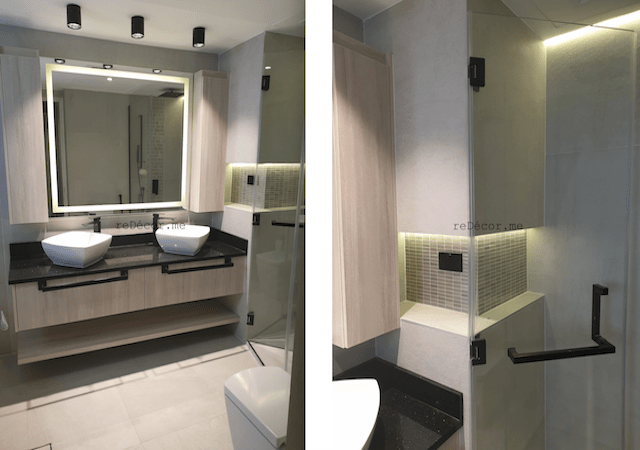 bathroom remodeling, dubai fitout, led lighting, walk in shower, home decor, custom vanity, his and her bathroom, black fitting bathroom, unusual shape shower