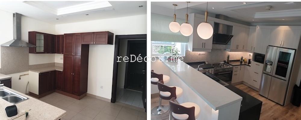 kitchen before and after al furjan dubai, interior design, tiling, flooring, dubai interior designer, modern kitchen lighting