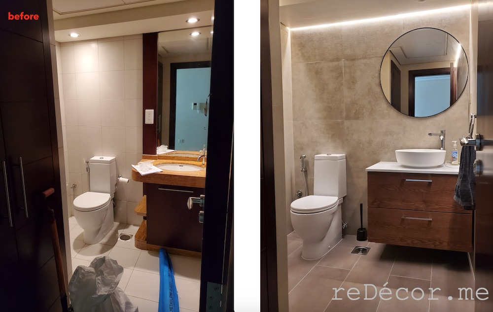 Downtown burj views bathroom renovations before and after, remodeling bathroom