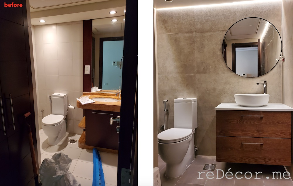Downtown burj views bathroom renovations before and after, master bathroom with a walk in shower