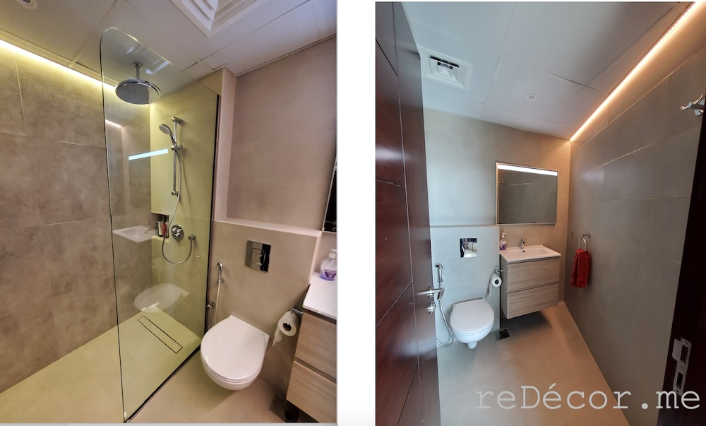 Downtown burj views bathroom renovations before and after, master bathroom with a walk in shower, led lighting