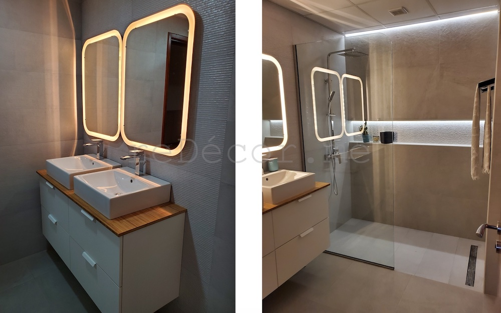 motorcity bathroom remodeling dubai fitout, led lighting, walk in shower
