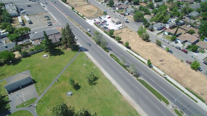 UAV Aerial Photo Of Airport Way In Stockton