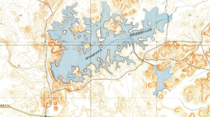 Screenshot of USGS Topo Map Showing Modesto Reservoir