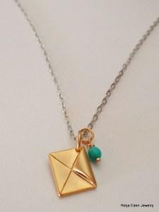 gold envelope charm necklace