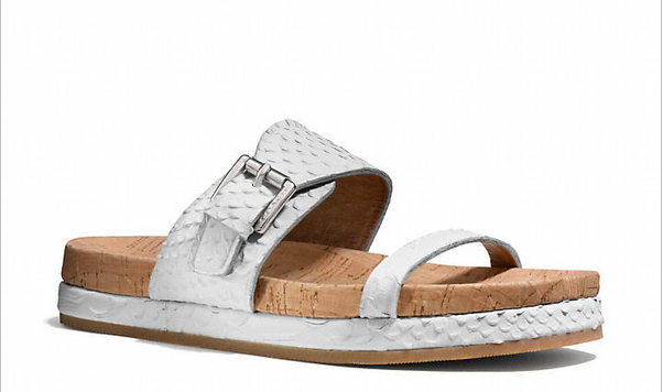 snake embossed sandals by Coach