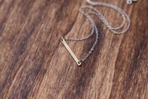 mixed metal bar necklace