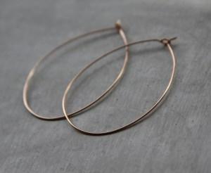 handmade rose gold hoop earrings