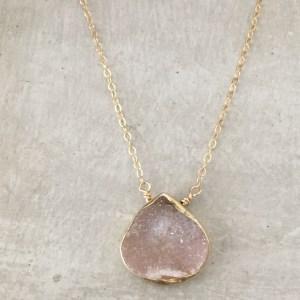 peach druzy necklace