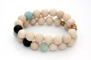handmade riverstone bracelet set