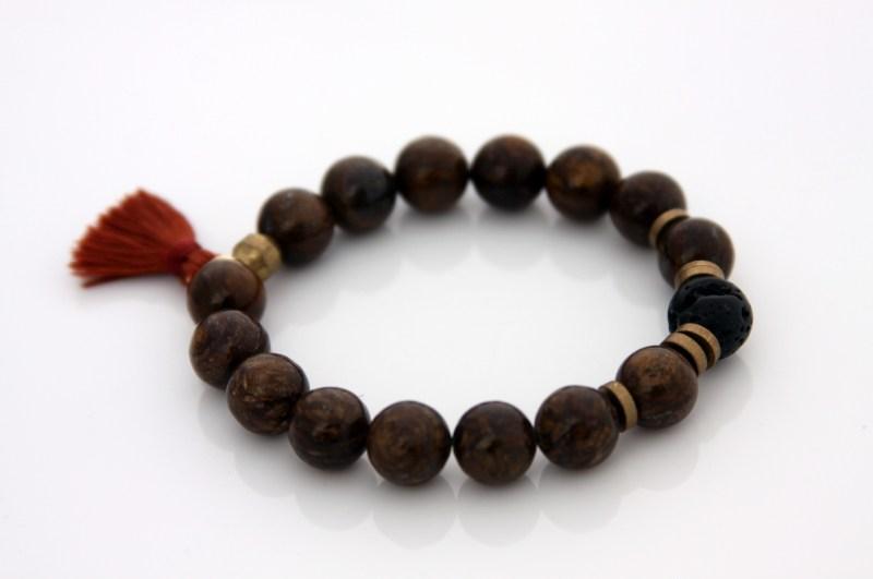 handmade bronzite gemstone bracelet with a tassel