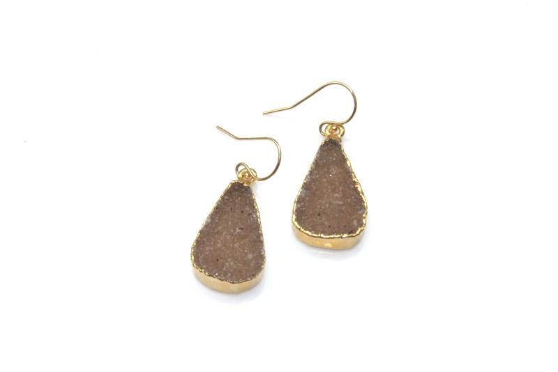 brown druzy earrings - gold