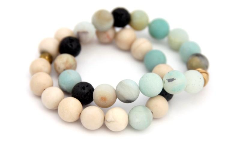 amazonite and riverstone bracelet set
