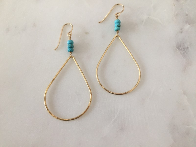 handmade gold turquoise earrings