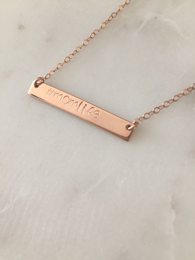 #momlife necklace - handmade - handstamped