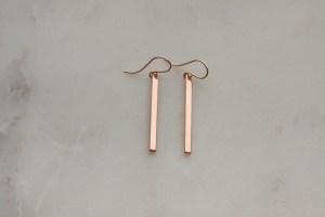 rose gold stick earrings