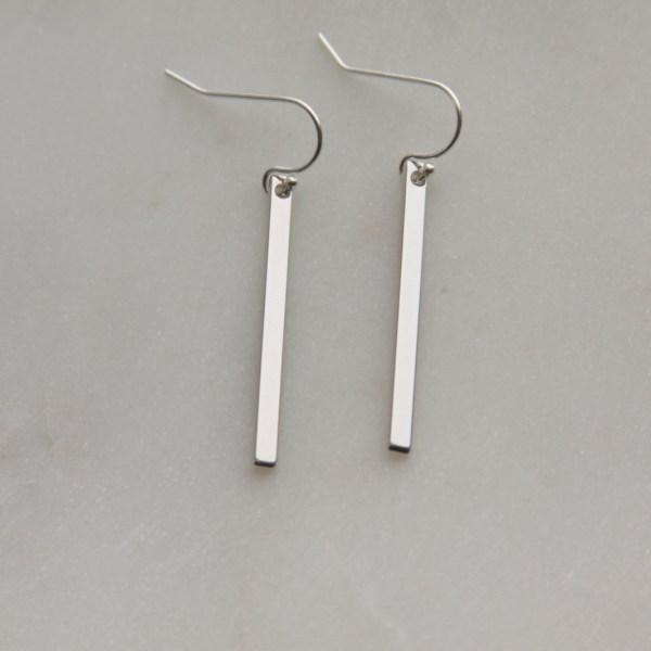 silver stick earrings