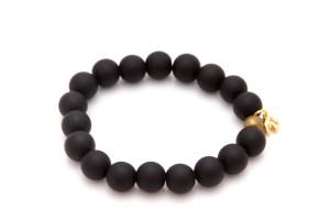 elephant charm bracelet - black onxy bracelet