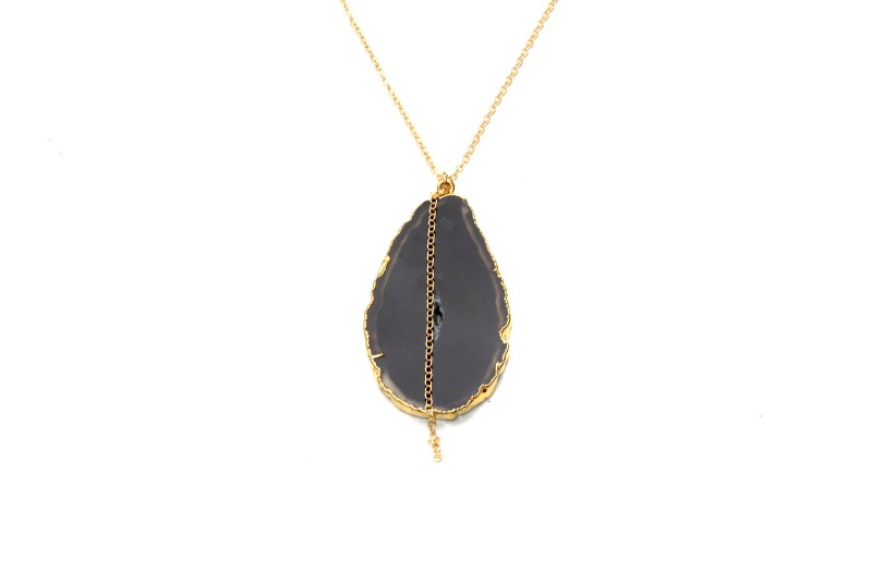 black agate necklace - gold