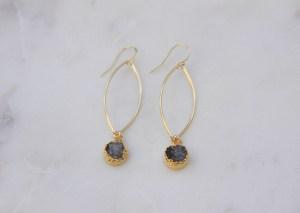 stone earrings - handmade - gold
