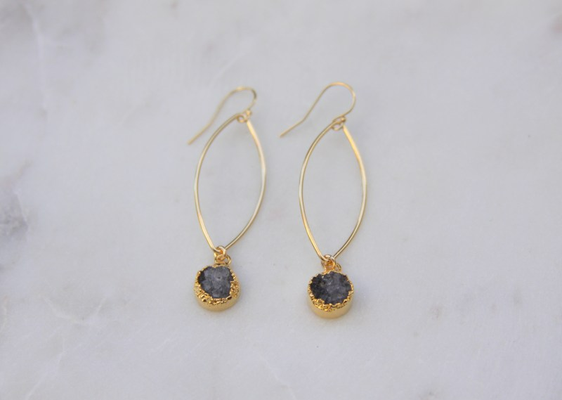 stone earrings - handmade - gold