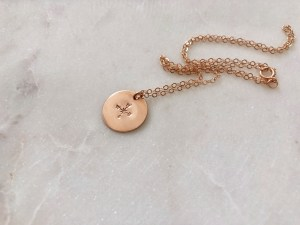 compass necklace - rose gold - hand stamped