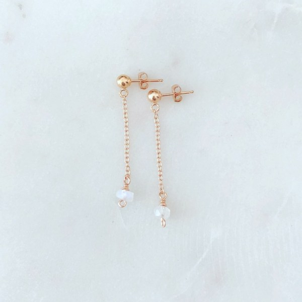 rose gold moonstone earrings