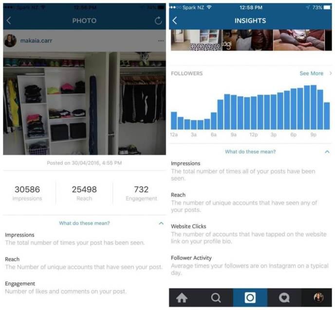 Instagram Statistiken Unternehmen - Reichweite und Impressionen von Instagram Posts