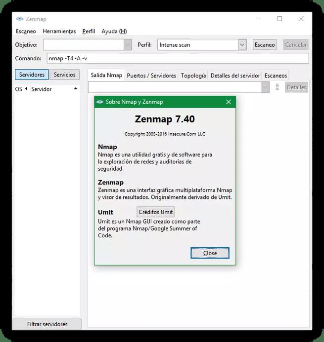 Zenmap Nmap 7.40