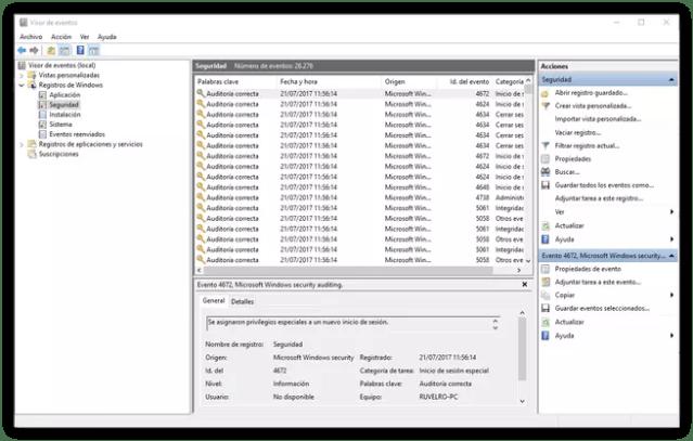 Visor de acontecimientos Windows diez - Auditoria y seguridad