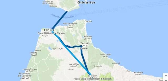 Ejemplo de senda registrada con el historial de Google