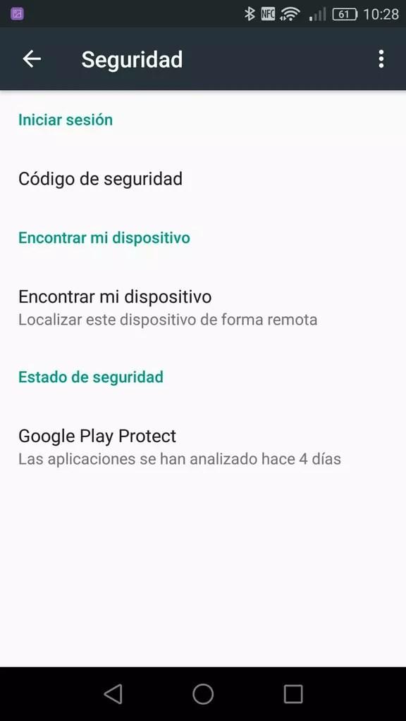 Opciones de seguridad de Google en Android
