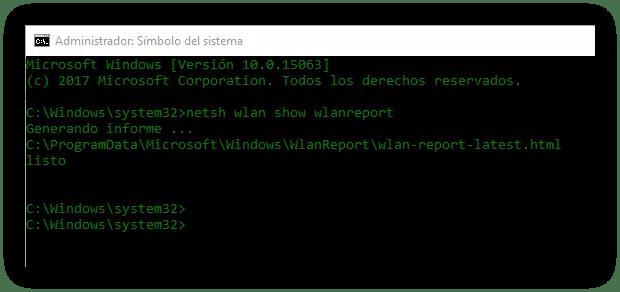 CMD Generar Informe Wi-Fi Windows 10