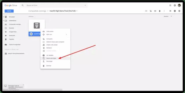 Hacer copia fichero Google Drive