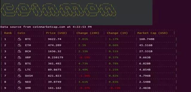 Saber el coste de las criptomonedas en la terminal de Linux