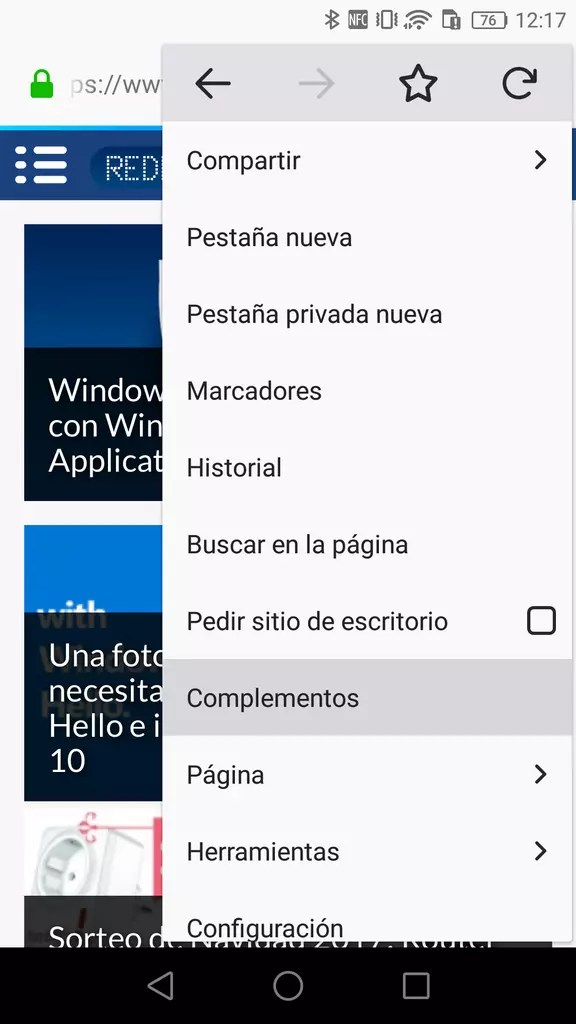 Opciones complementos ©Firefox Android