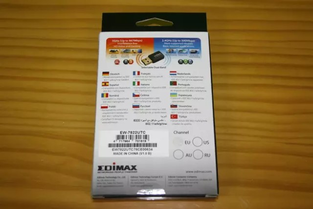 Trasera de la caja del adaptador Wi-Fi Edimax EW-7822UTC