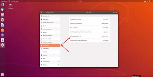 Desactivar informes fallo ©Ubuntu 18.04