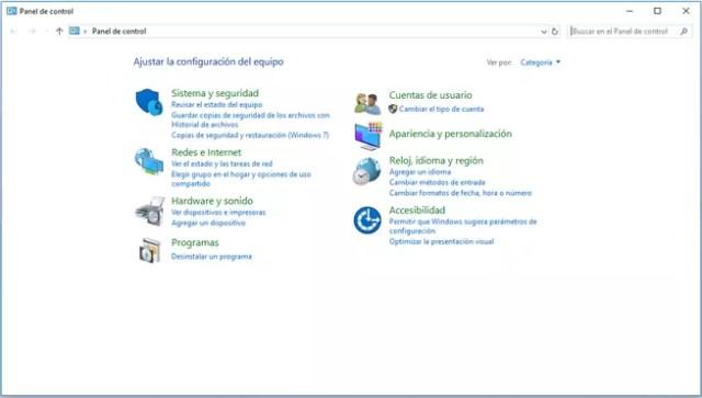 Panel de control de ©Windows para comprobar puerta de enlace