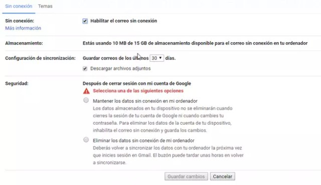 Configurar Modo Sin Conexión Gmail