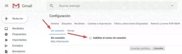 Modo Sin Conexión Gmail