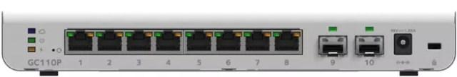 NETGEAR GC110P unboxing parte trasera con ocho puertos de red y dos SFP
